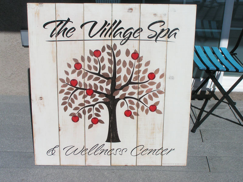 Hand Painted & Distressed Spa Sign