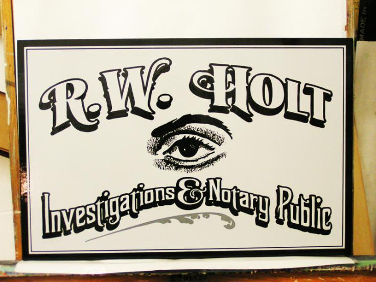 Hand Painted Private Eye Sign