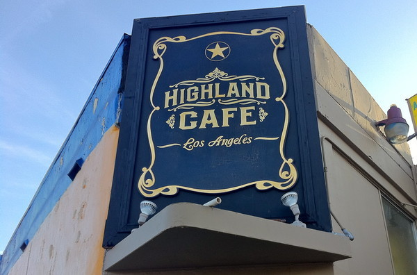 Highland Cafe Sign, distressed with gold leafing