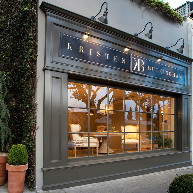 Kristen Buckingham Design: Painted this sign and hung it above their storefront in Beverly Hills. Had her living legend husband Lindsey (yes, that one) standing behind me for an hour watching me gold leaf the front window. (No complaints, he was a very pleasant guy).