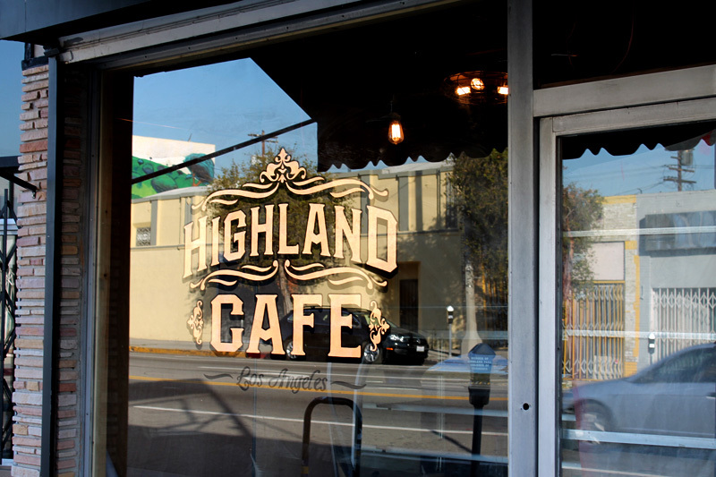 Reverse Glass Copper Leaf Gilding for our friends at Highland Cafe in Los Angeles. We did 2 of these windows this past week.