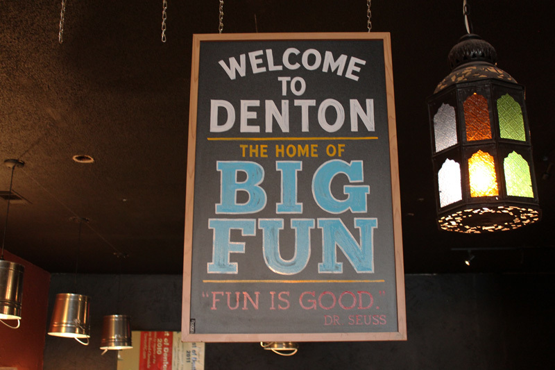 "Funnest Small Town in the U.S.A.: Rand MacNally comes to Denton this week to decide if it is in fact the ""Most Fun Small Town in America"" We made this sign for the front counter at Jupiter House Coffee"