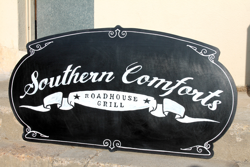 Southern Comforts Dallas: Hand Painted Signs. Just finished a couple of these for Southern Comforts Roadhouse Grill in Dallas.