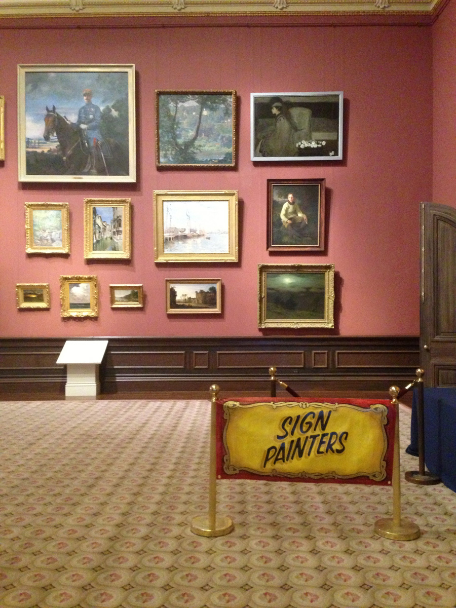 One of our hand painted banners hanging in the Smithsonian for the debut screening of the Sign Painter Movie, how cool is that? I'm geekin'