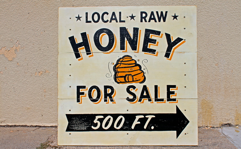 Hand Painted Honey Sign: Just finished for a local customer