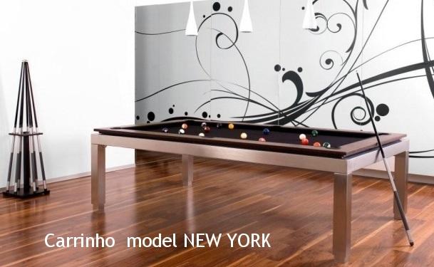 Dit prachtig model New York biljart/eettafel is modern, strak en ongelooflijk mooi van model, inox frame van topkwaliteit, 6 houtsoorten & lakkleuren beschikbaar, prijs vanaf  € 6.395   vraag vrijblijvend onze prijslijst.