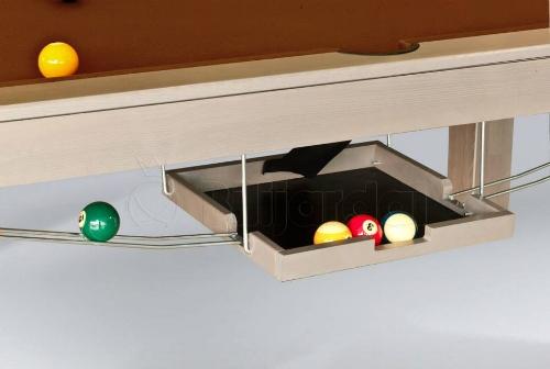 Inklapbaar ballen terugloop bak  = optie van 310€/7ft - 365€/8ft