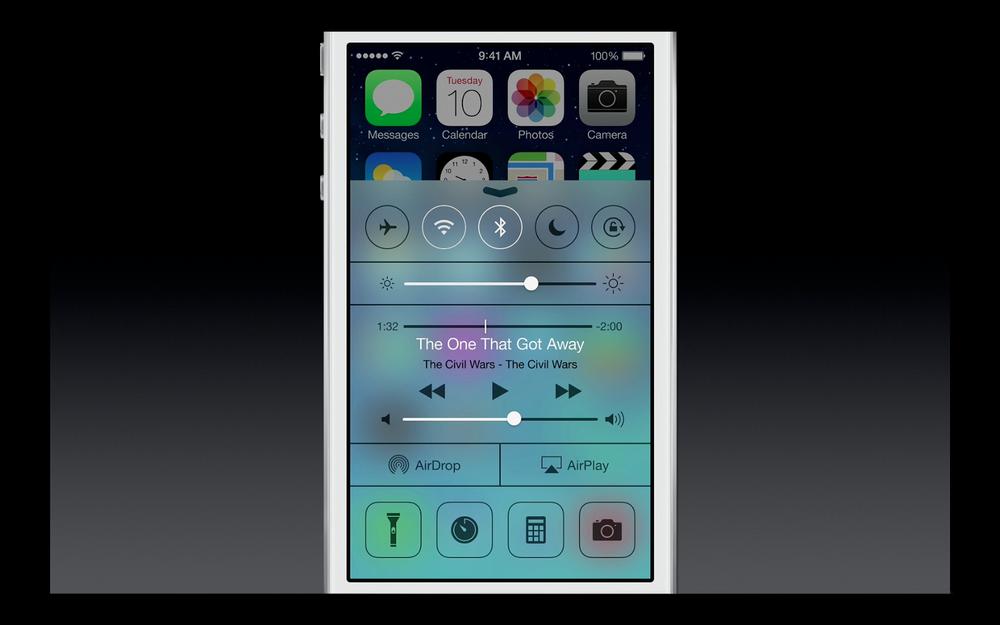 Le nouveau menu de réglage rapide d'iOS7