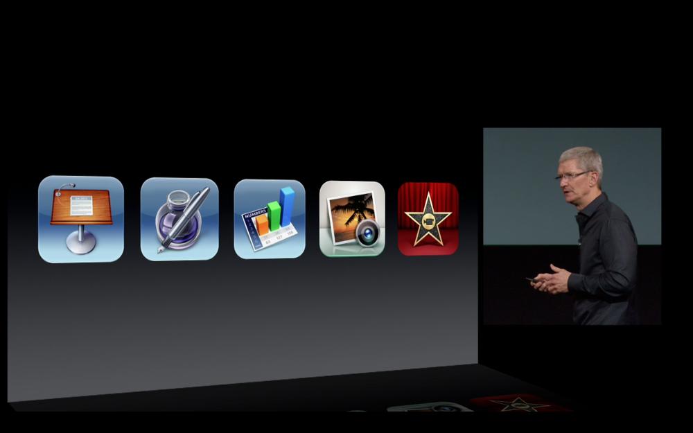 Tim Cook annonçant que iWork, iMovie et iPhoto sont gratuits pour les nouveaux terminaux iOS
