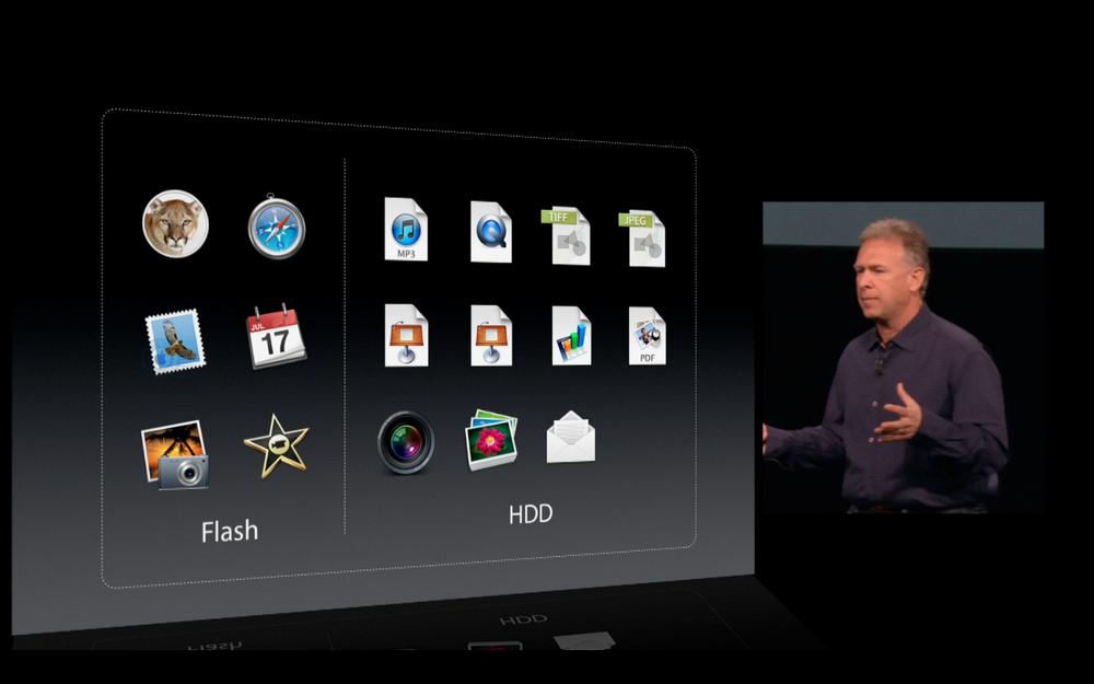 Fusion Drive : association d'une barrette de mémoire Flash avec un HDD ; l'utilisateur ne voit qu'un volume.