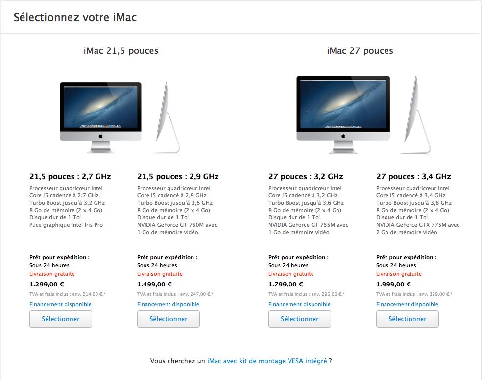 Les quatre modèles d'iMac en version standard
