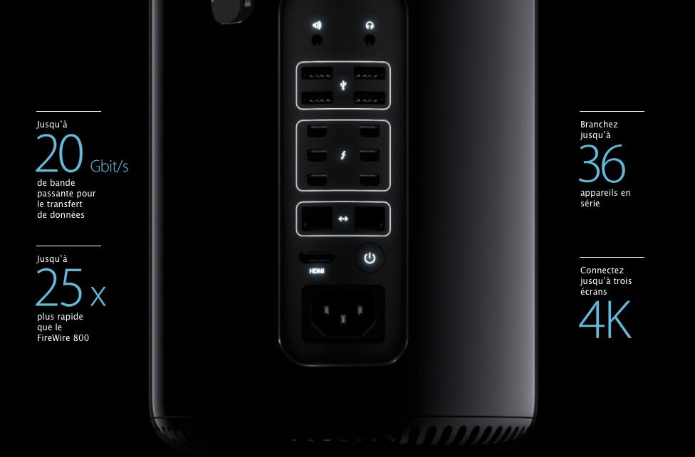 Apple met bien en avant les 6 ports Thunderbolt et la possibilité d'y connecter 36 périphériques.
