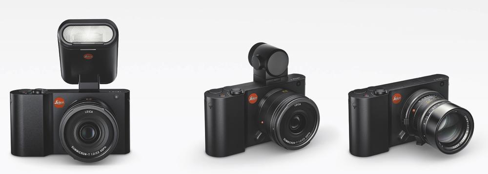 Déclinaison du Leica T. Un viseur externe EVFoptionnel qui intègre une puce GPS. Leica vous offre la possibilité d'adapter des optiques Leica M. avec une bague livrée avec le boitier. Si le flash intégré, avec des LED pour la vidéo, ne suffit pas, Leica prévoit un flash externe. Dans ce cas, il faut ôter l'EVF et perdre la fonction GPS!