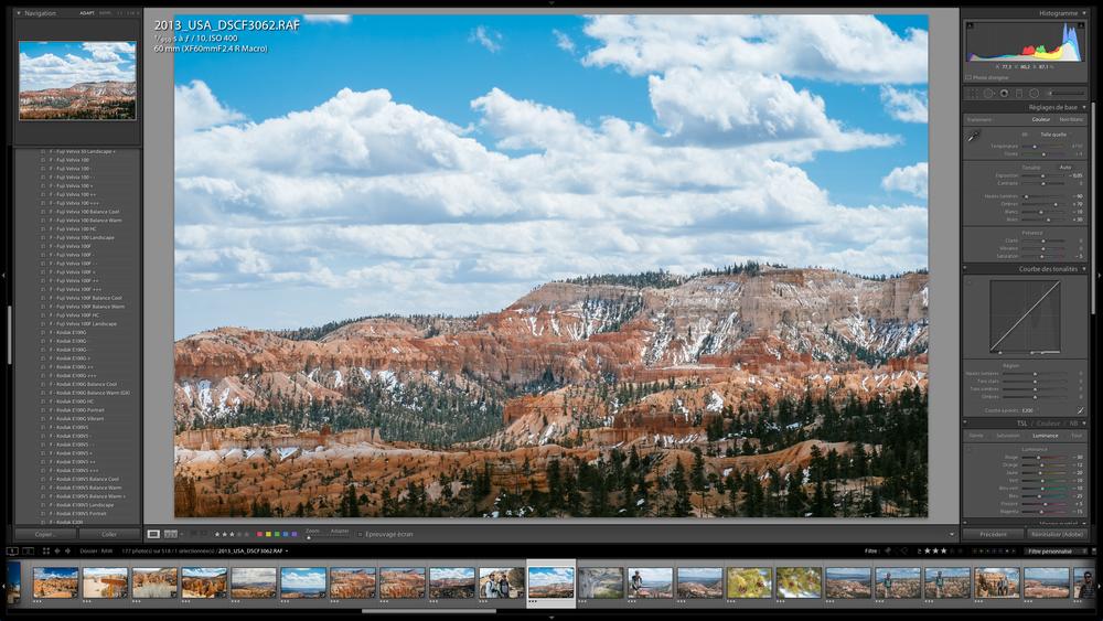 Module de développement de LightRoom 5 avec, à gauche, les différent films VSCO sous forme de préréglages. Dernières neiges à Bryce Canyon, printemps 2013. Photo au Fuji X-Pro 1 et objectif 60mm.