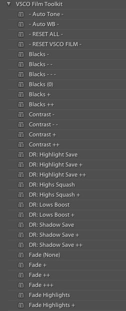 """Le """"Toolkit"""" qui permet d'affiner les images après applications d'un film. Pour déboucher les ombres ou enlever le grain par exemple, sans jouer avec les curseurs de LightRoom."""