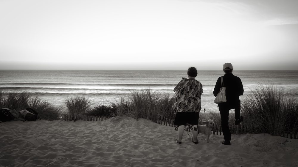 Couple et leur chien…Attitude ! // Plage de l'Horizon au Cap-Ferret (France) Zeiss 55mm ©Thierry Lothon 2014