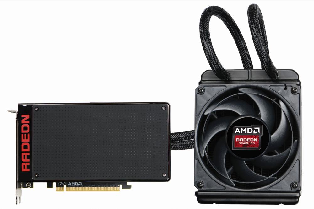 Une AMD Radeon R9 Fury X avec son système de refroidissement liquide (Watercooling) d'origine.