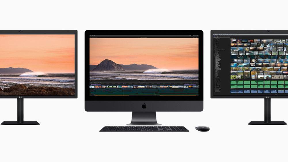 Avec ses ports Thunderbolt 3, l'iMac Pro peut accueillir simultanément jusqu'à deux baies RAID hautes performances et deux moniteurs 5K.