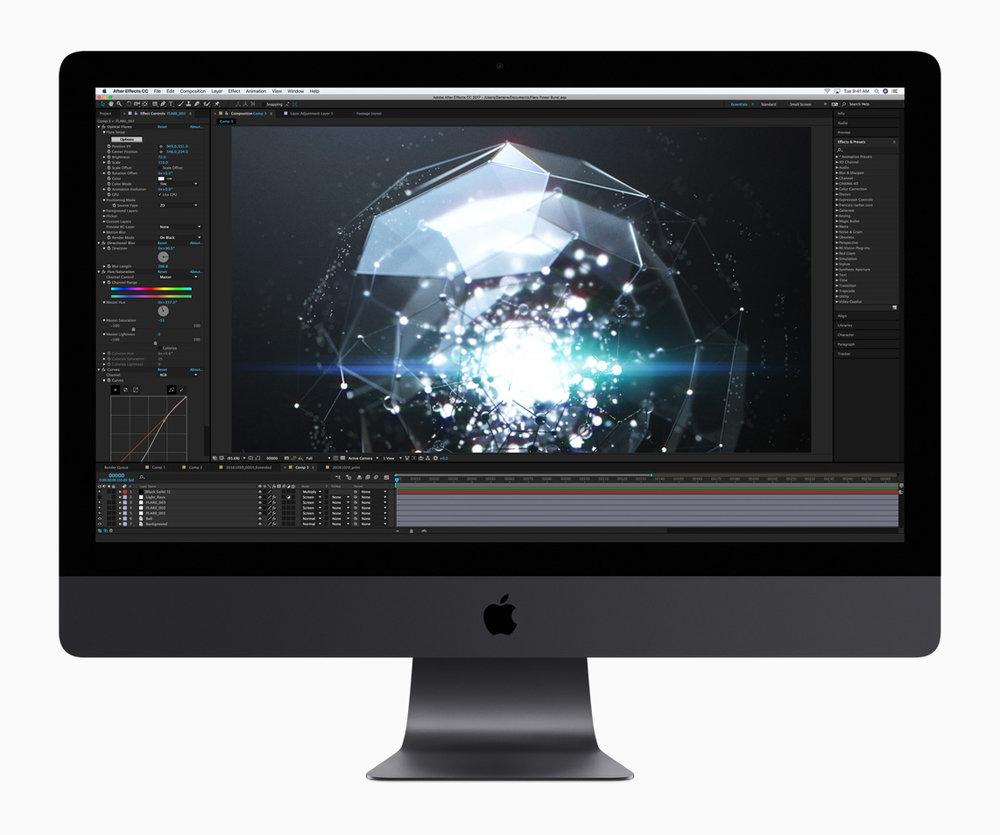 Les performances et les capacités exceptionnelles de l'iMac Pro lui permettent de prendre en charge des apps et des processus professionnels tels que la création de rendus 3D, les simulations complexes et les processus de production les plus exigeants.