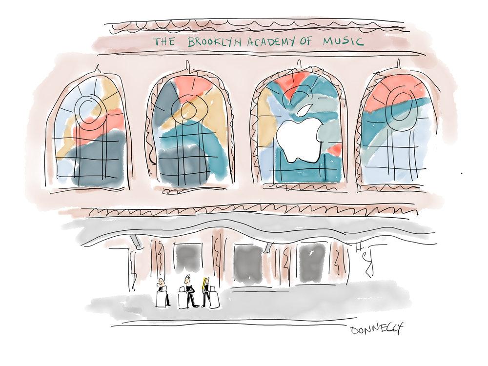Petit clin d'oeil Liza Donnelly @lizadonnelly, que je suis parfois sur The New Yorker qui a croqué, sur le nouvel iPad quelques scènes du keynote de mardi à la Brooklyn Academy of Music de NY