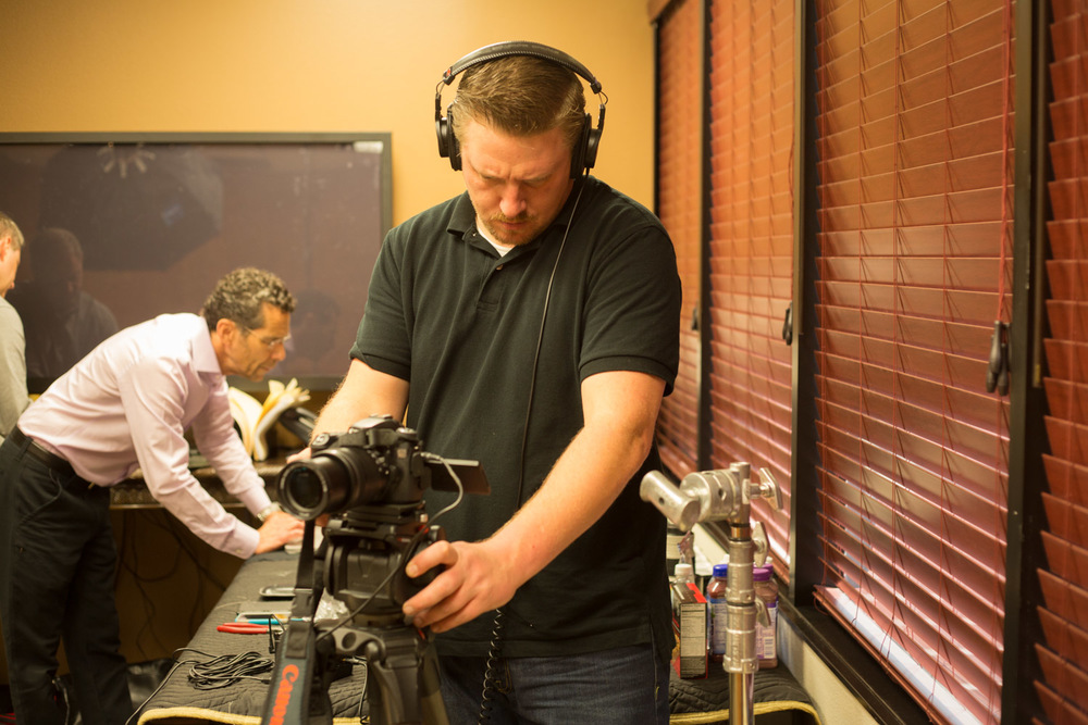 Daniel Sorrentino from Video Resources,Inc. setting sound levels for the video interview.