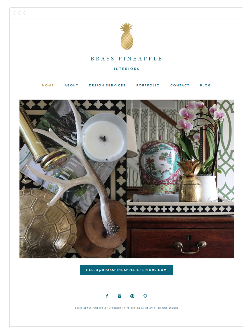 Brass Pineapple Interiors Site Design by Kelly Christine Studio