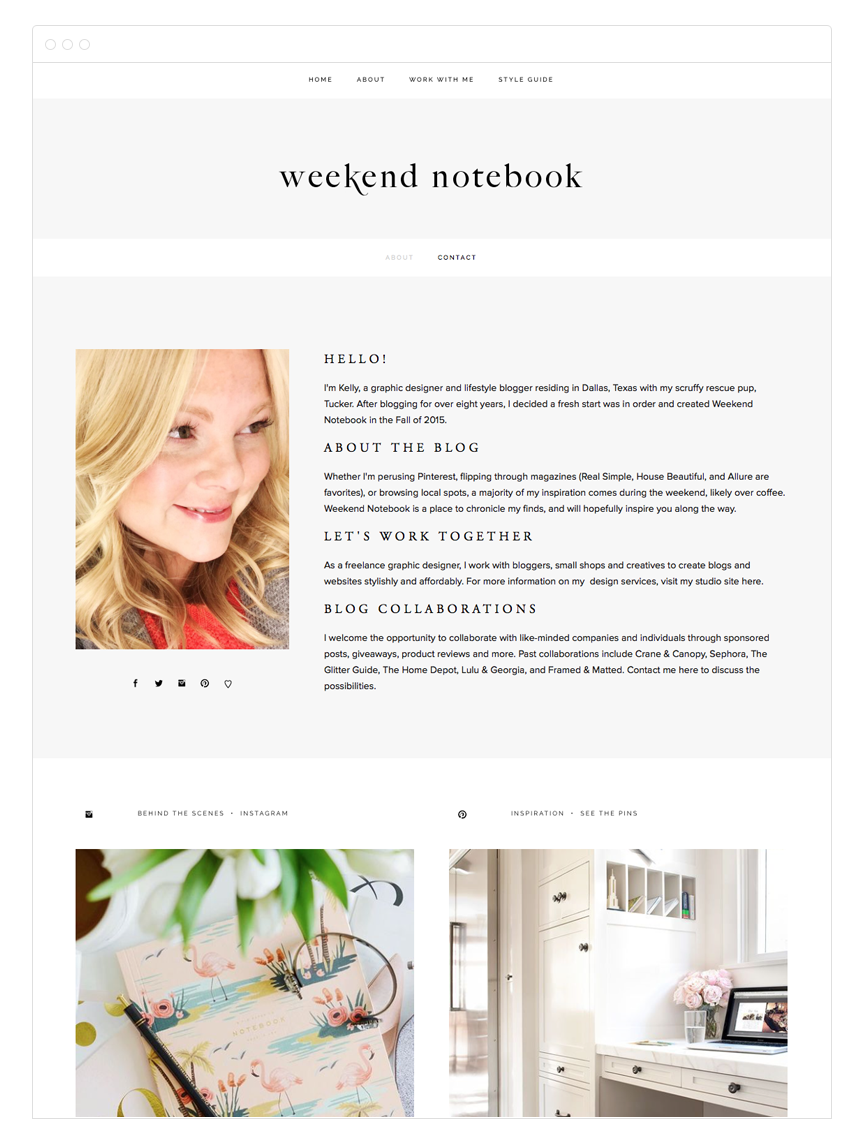 Weekend Notebook Blog Design by Kelly Christine Studio