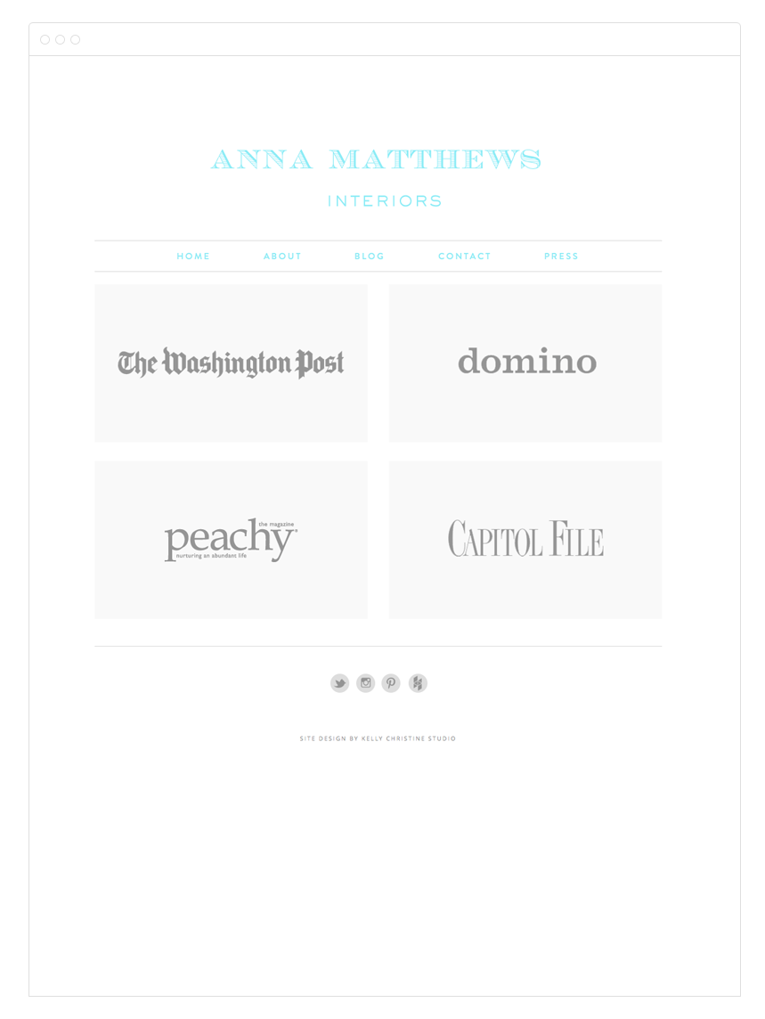 Anna Matthews Interiors Website Design by Kelly Christine Studio