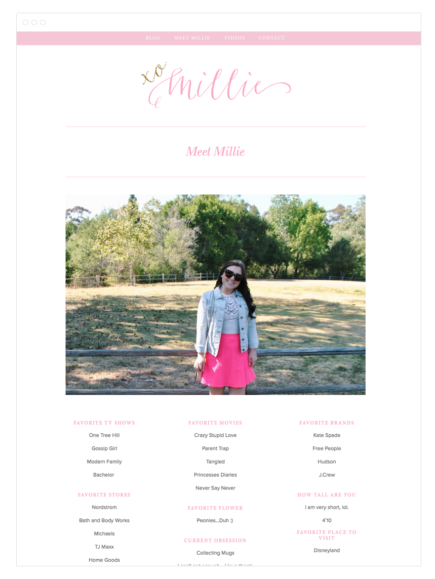 XO Millie Squarespace Blog Design By Kelly Christine Studio