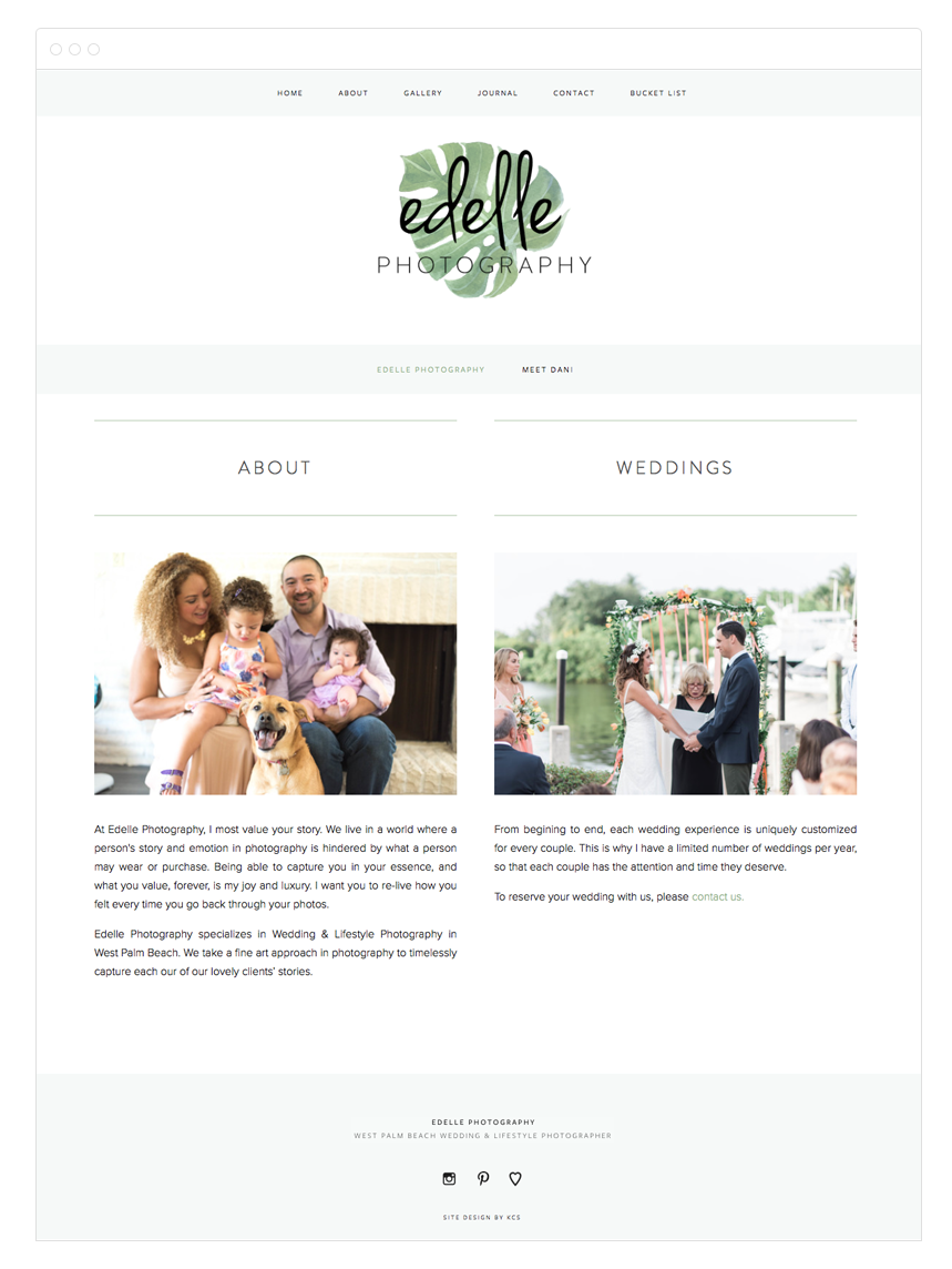 Edelle Photography Photography Portfolio Website Design by Kelly Christine Studio