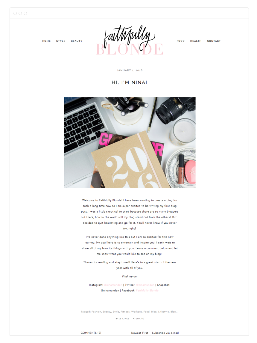 Faithfully Blonde Squarespace Blog Design by Kelly Christine Studio