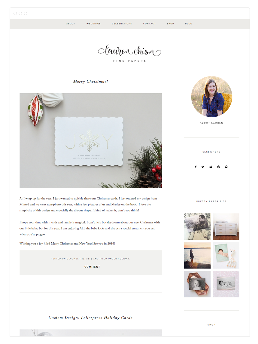 Lauren Chism Squarespace Website + Blog Design by Kelly Christine Studio