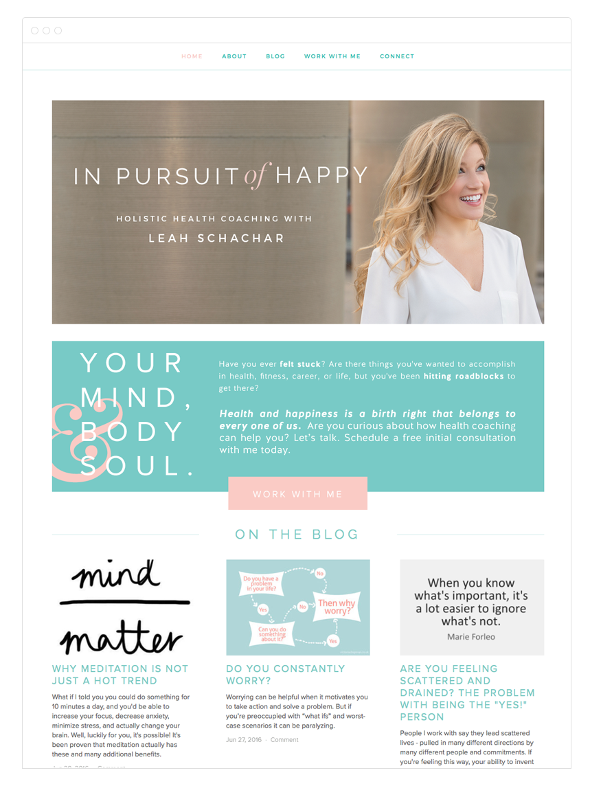 In Pursuit of Happy Website Design by Kelly Christine Studio