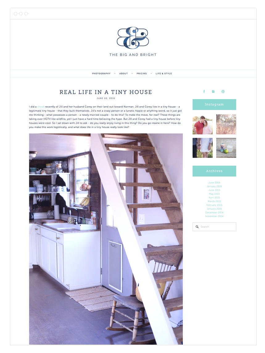 The Big & Bright Site Design by Kelly Christine Studio