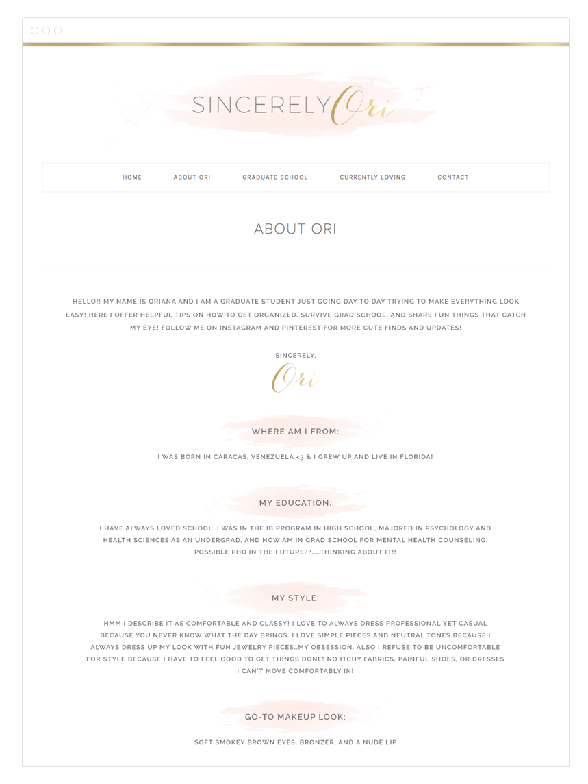 Sincerely Ori Blog Design by Kelly Christine Studio