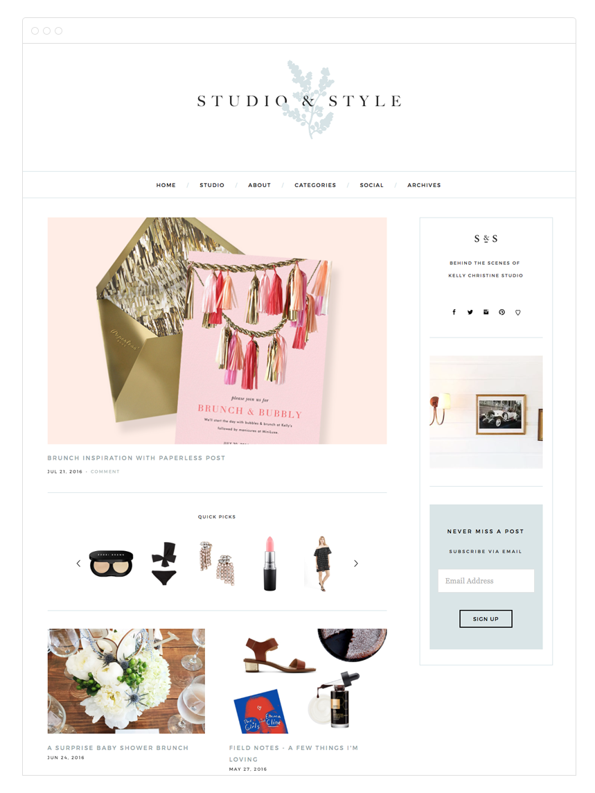 Studio & Style Blog Design by Kelly Christine Studio