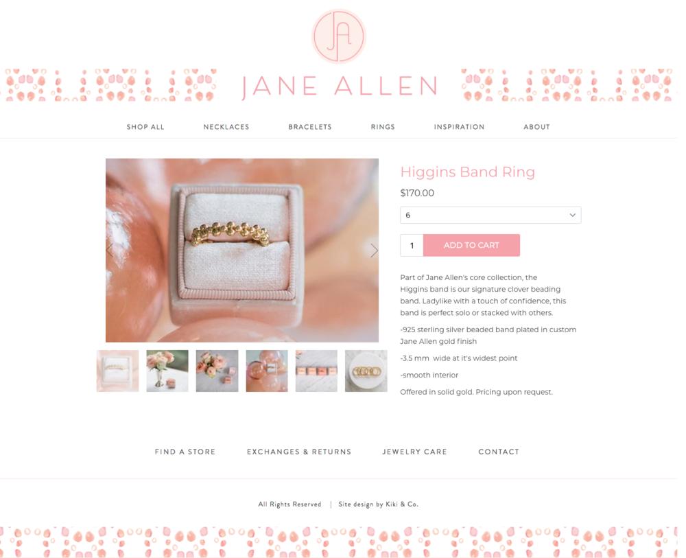 Jane Allen E-Commerce Shop Design by Kiki & Co.