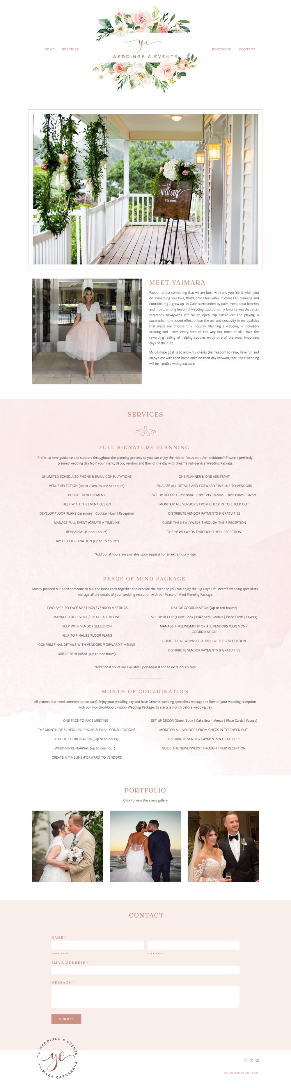 YC Weddings & Events Squarespace Platform Website Design by Kiki & Co.