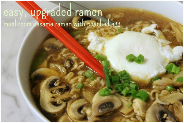 Easy Upgraded Ramen: Mushroom Sesame Ramen with Poached Egg