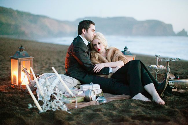 Vintage Dinner-and-a-Movie-Themed Engagement Photos