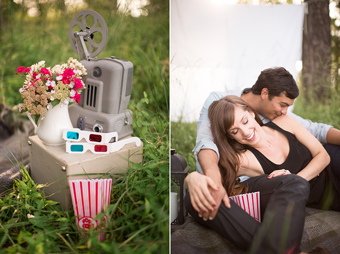 The Stylist Quo Engagement Photos: Vintage Dinner and a Movie-Themed Session