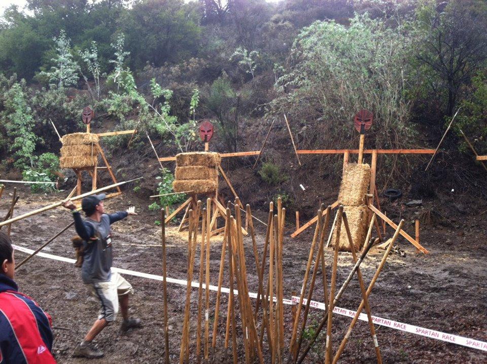 The hallmark obstacle of a Spartan Race: the javelin throw.