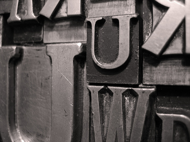 Image: metal type via Flickr, user tonystl