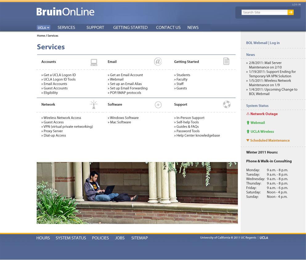 Bruin OnLine site mockup