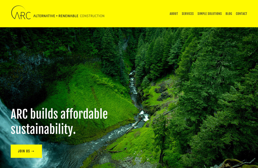 alternative + renewable construction website design