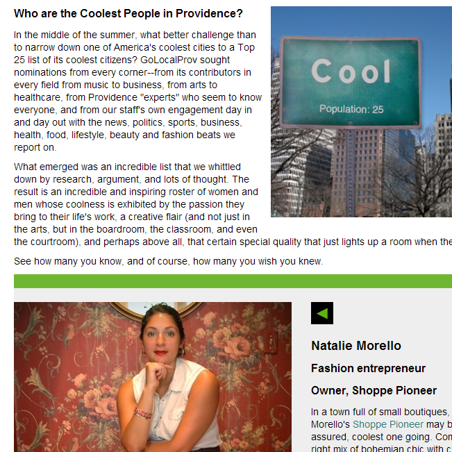 Top 25 Coolest People in Providence. Natalie makes number 14.  September, 2013