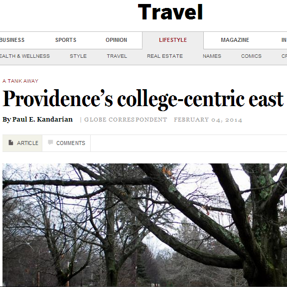 Boston Globe shares where to travel During the Day in Providence, RI  February, 2014