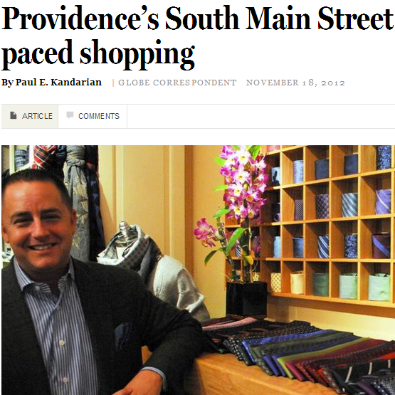 Boston globe shares slower paced shopping rather then shopping at the mall.  November, 2012