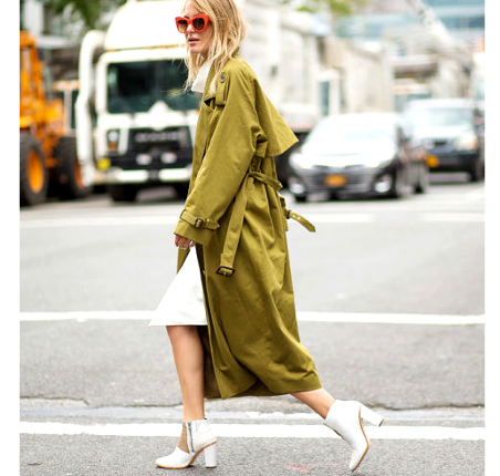A snapshot of an attendee spotted outside of NYFW, sporting an over sized olive trench coat.