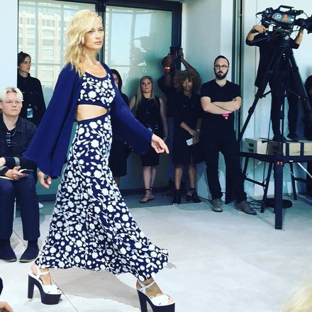 From, shoes, to dresses, to statement jackets, at Michaell Kohs runway show this year vintage floral patterns could be seen left and right, as well as a pop of mid 70's flare!